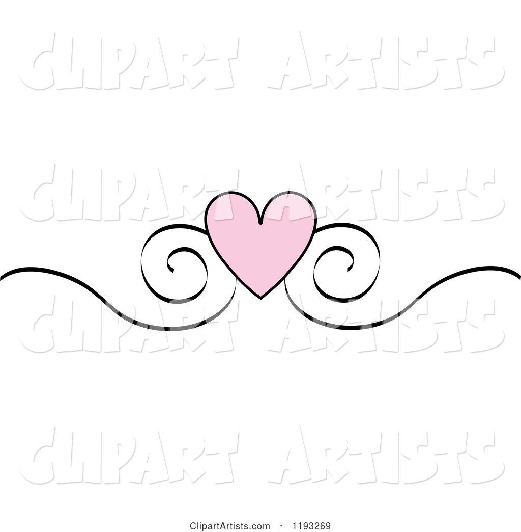 Pink Heart and Black Scroll Design Edge Border