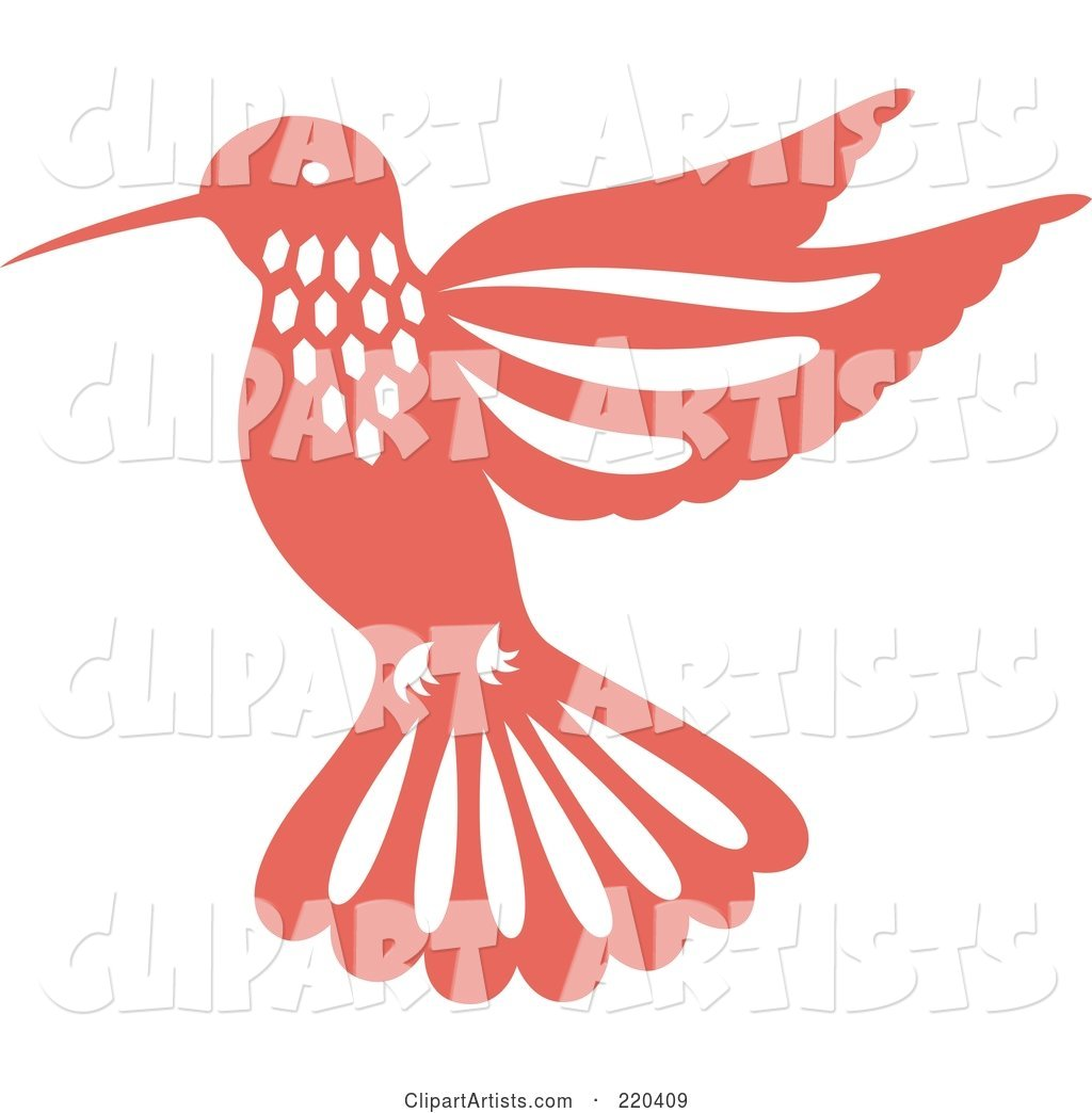 Pink Hummingbird with White Designs
