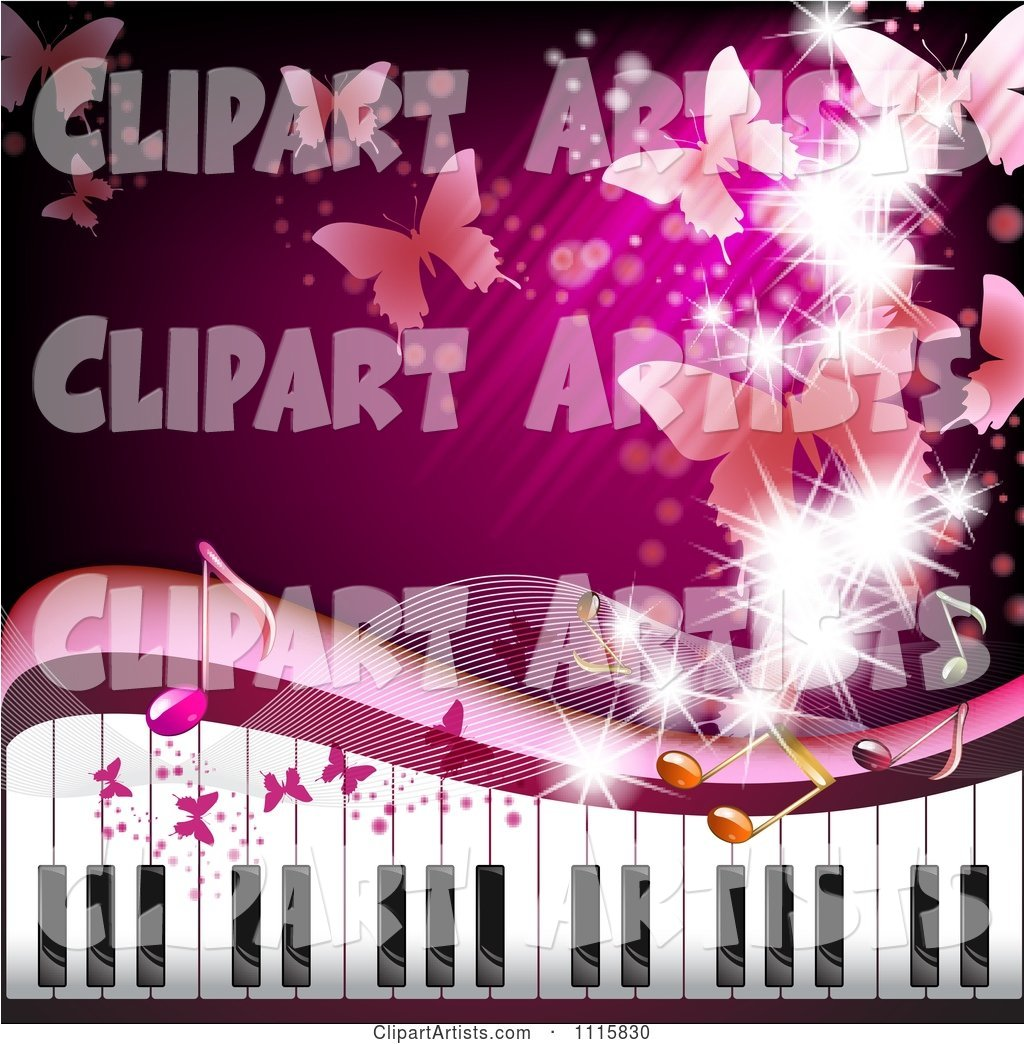 Pink Piano Keyboard Background with Butterflies