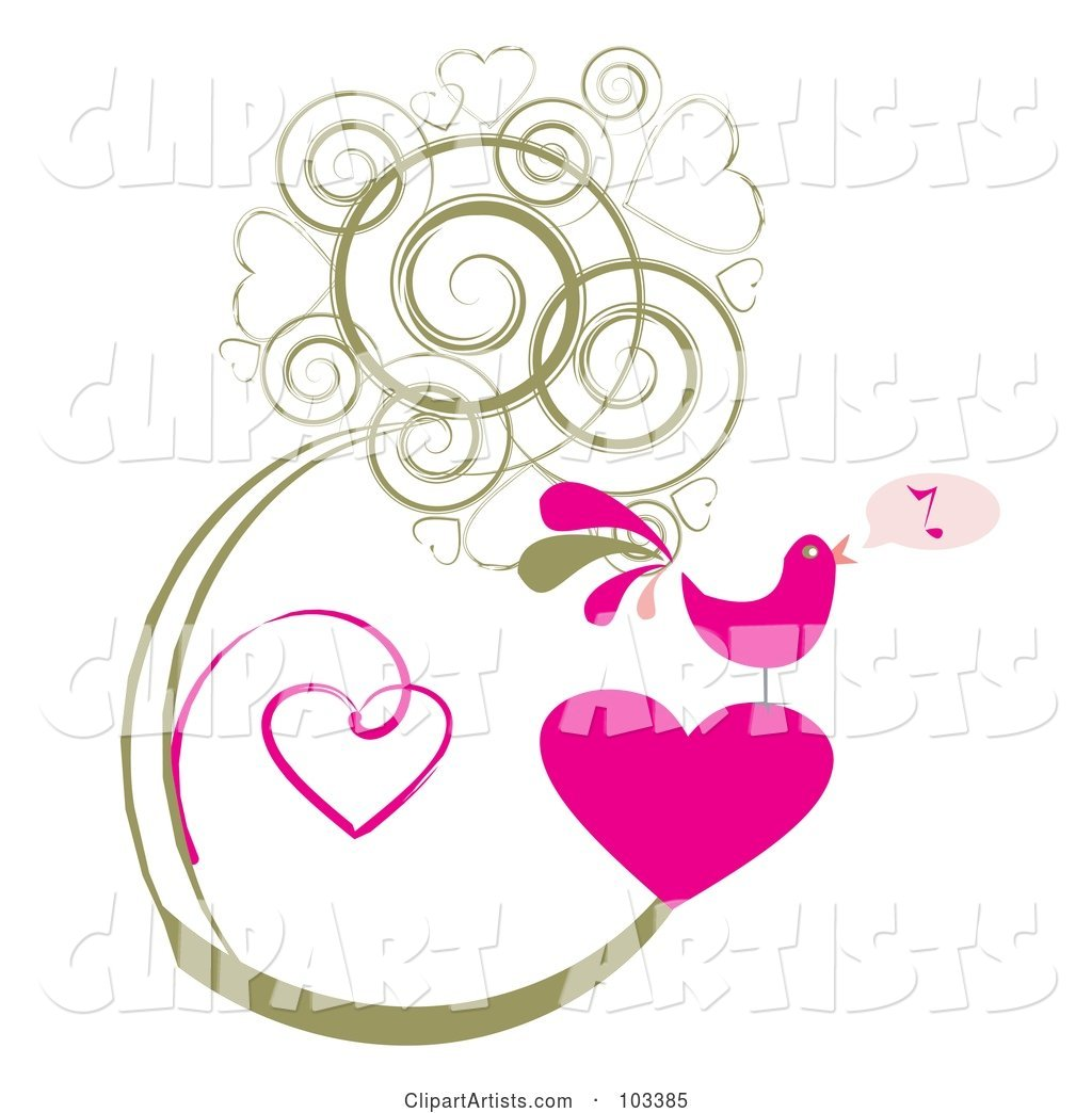 Pink Singing Bird on a Heart, with Grungy Heart Vines