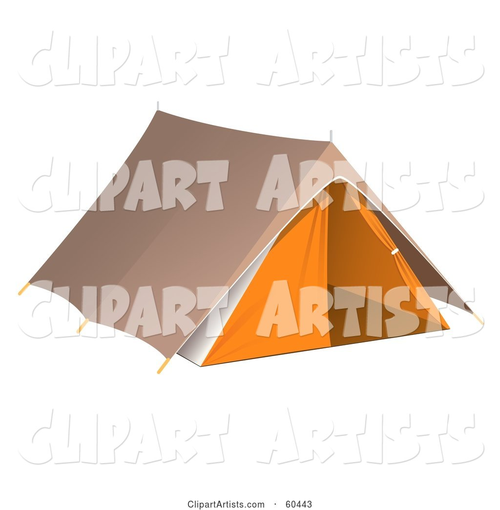 Pitched Brown and Orange Camping Tent