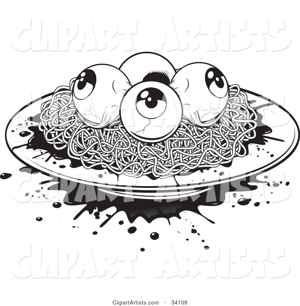 Plate of Spaghetti and Eyeballs with Splattered Blood