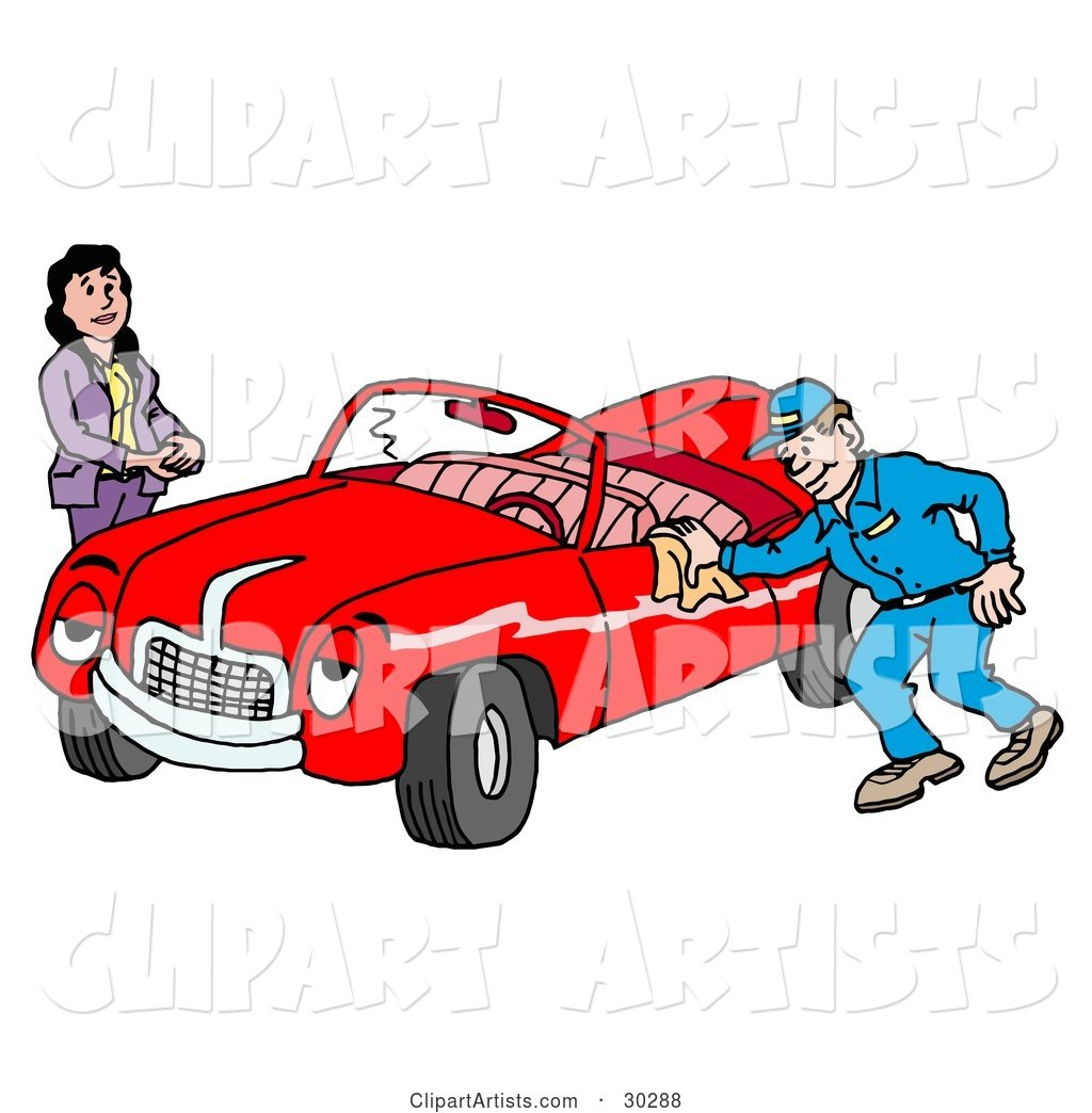 Pleasant Auto Mechanic Man Smiling While Shining a Classic Red Convertible Car for a Lady