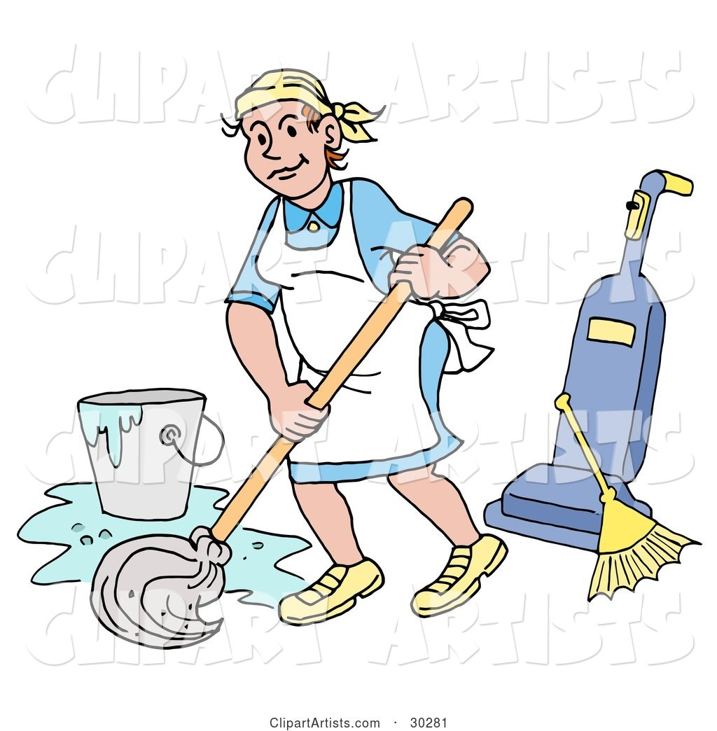 Pleasant Caucasian Housewife, Maid, House Keeper, Custodian or Janitor Woman Mopping a Floor near a Broom and Vacuum