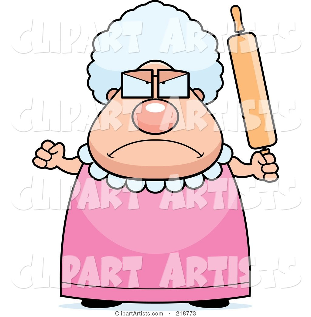 Plump Granny Waving a Rolling Pin in Anger