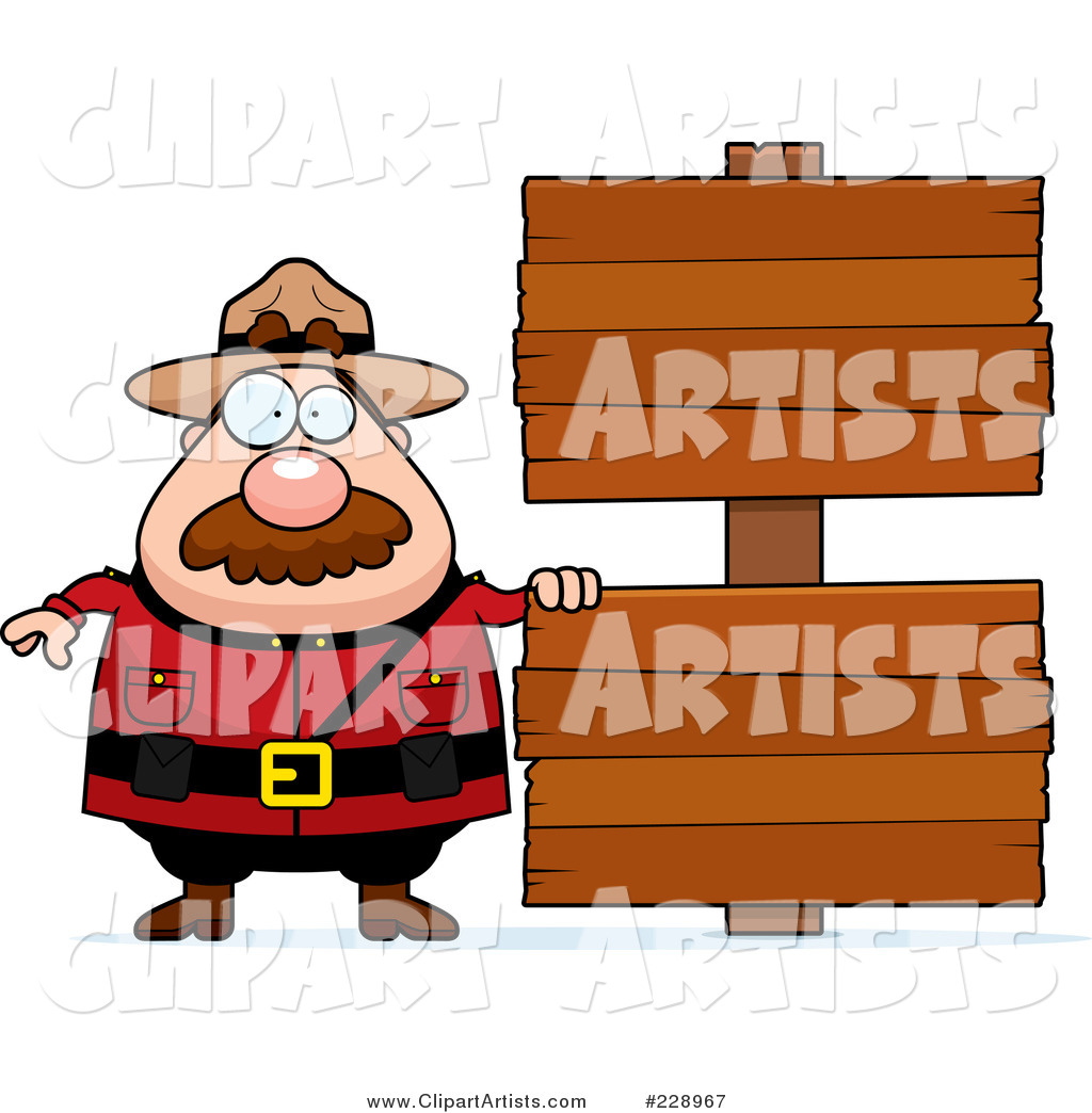 Plump Mountie Man Standing by Two Blank Wood Signs