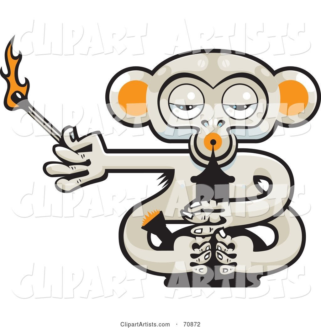 Pot Monkey with a Lit Match and a Bong