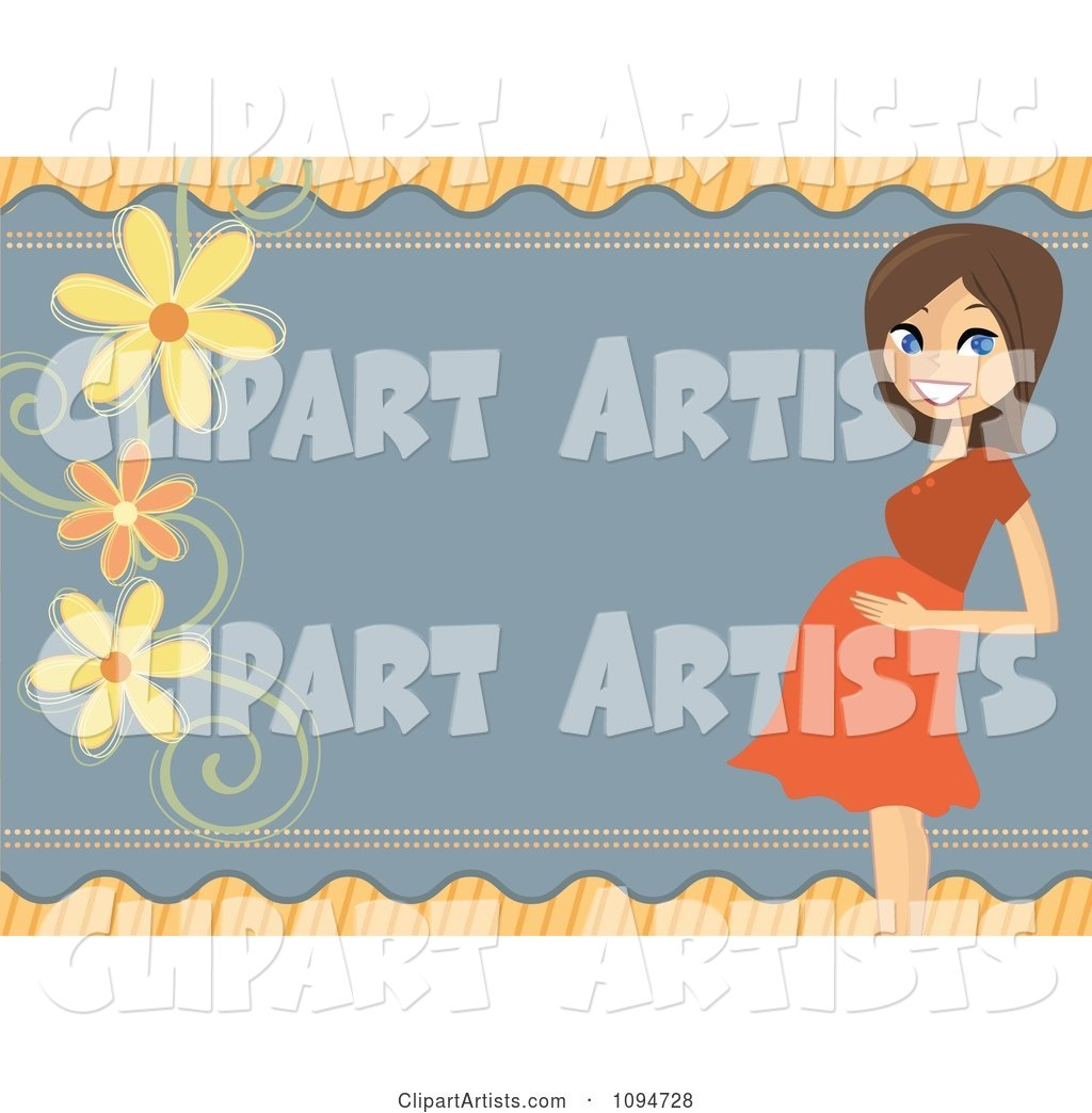 Pregnant Brunette Woman Holding Her Baby Bump Bridal Shower Border with Flowers and Copyspace