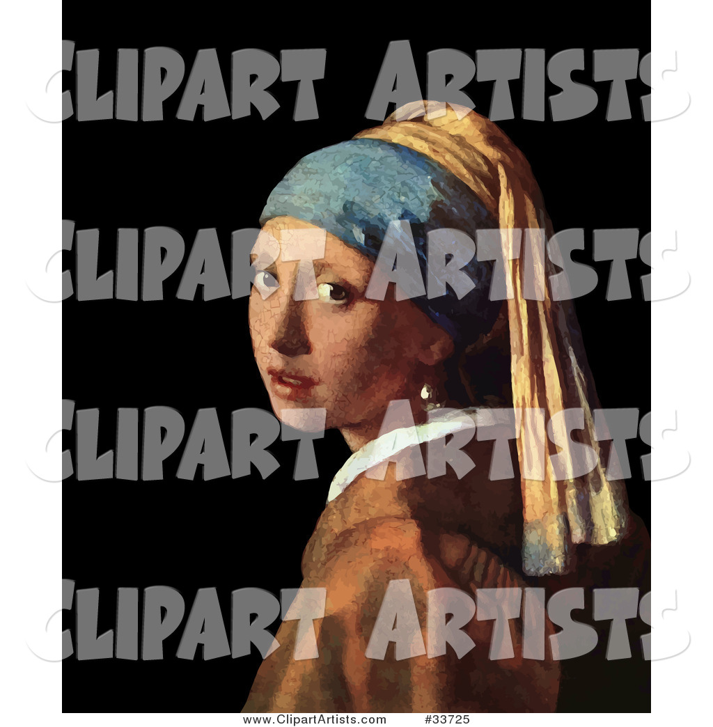 Pretty Lady Looking over Her Shoulder, Original Titled Girl with a Pearl Earring by Johannes Vermeer