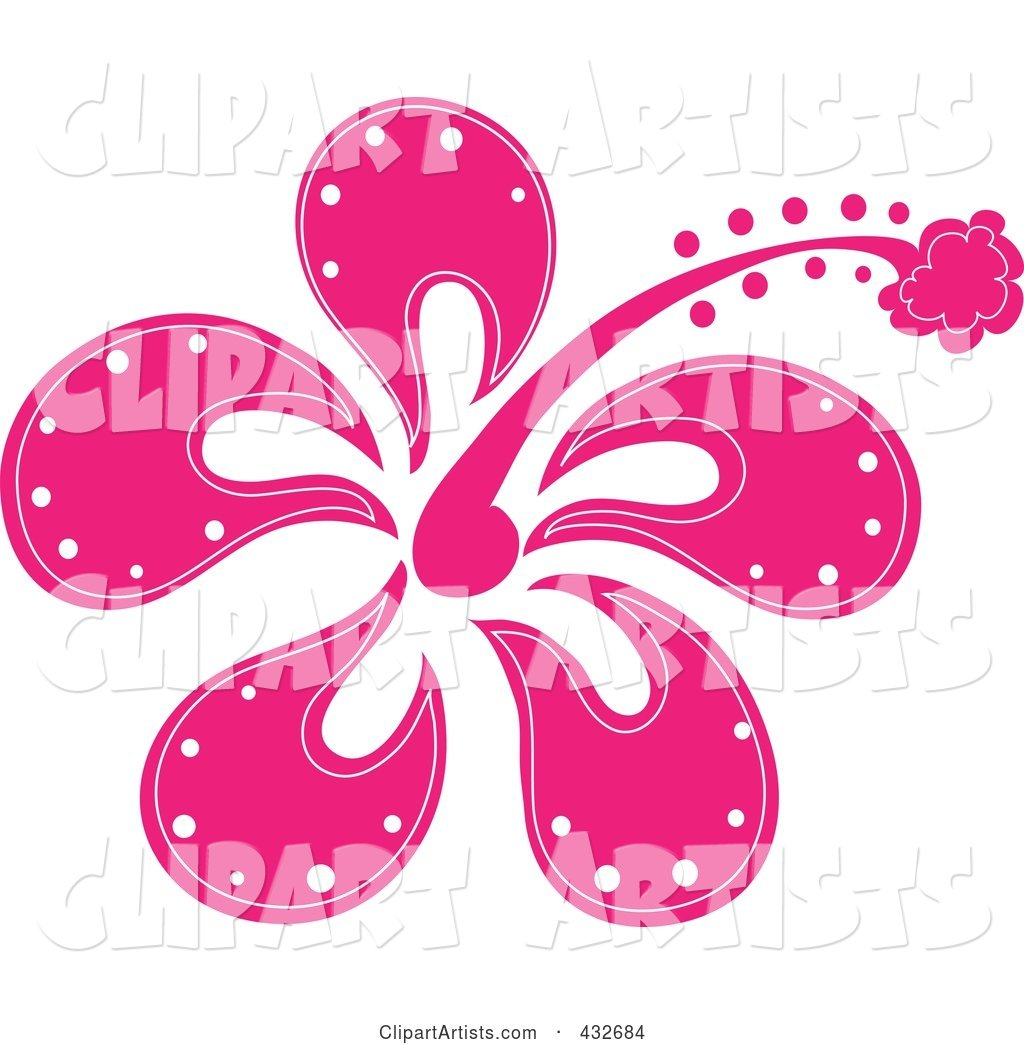 Pretty Pink Hibiscus Flower Logo Clipart By Rogue Design And Image