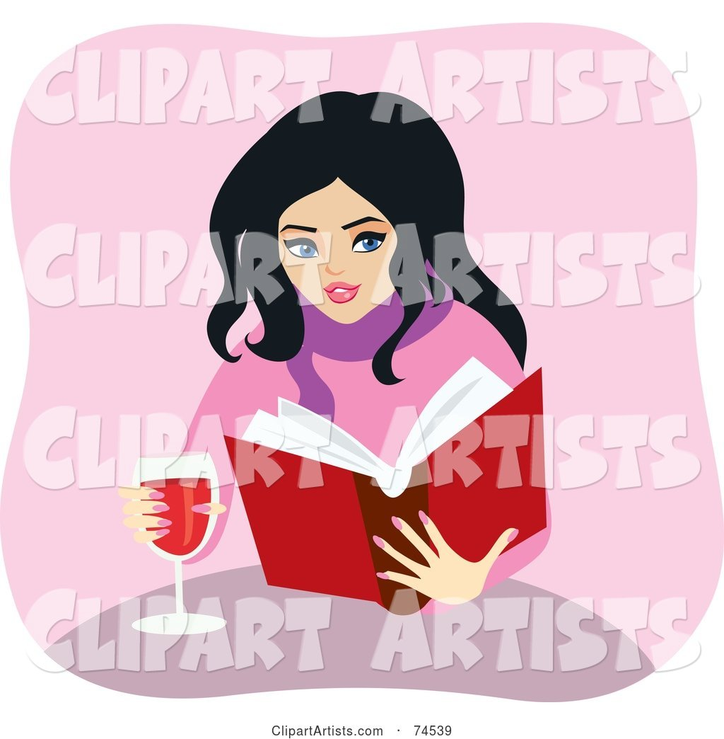 Pretty Woman Reading a Book and Drinking Wine at a Table