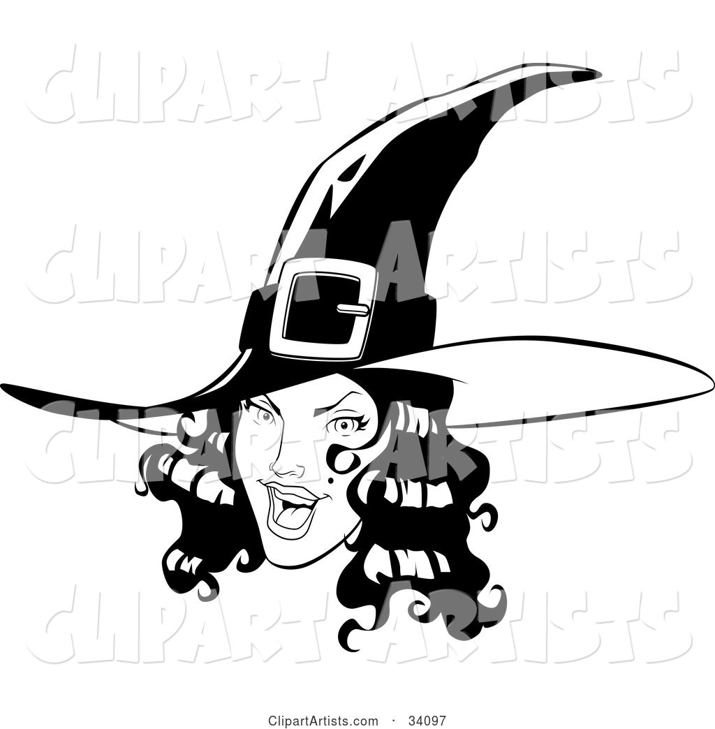 Pretty Young Witch with Black Wavy Hair, Wearing a Pointy Hat and Flashing a Flirty Expression at the Viewer