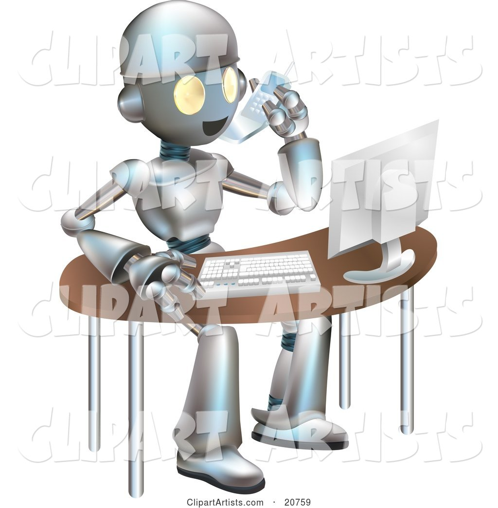 Professional Metallic Robot Character Talking on a Cell Phone and Working on a Computer at an Office Desk
