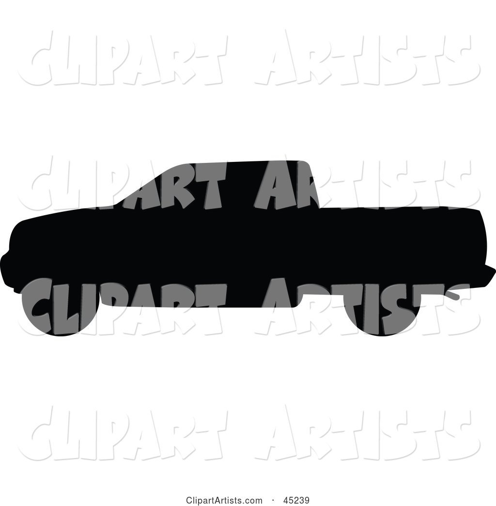 Profiled Black Pickup Truck Silhouette