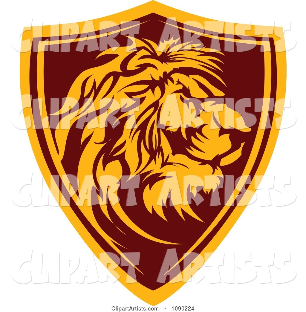 Profiled Lion Mascot Shield Badge
