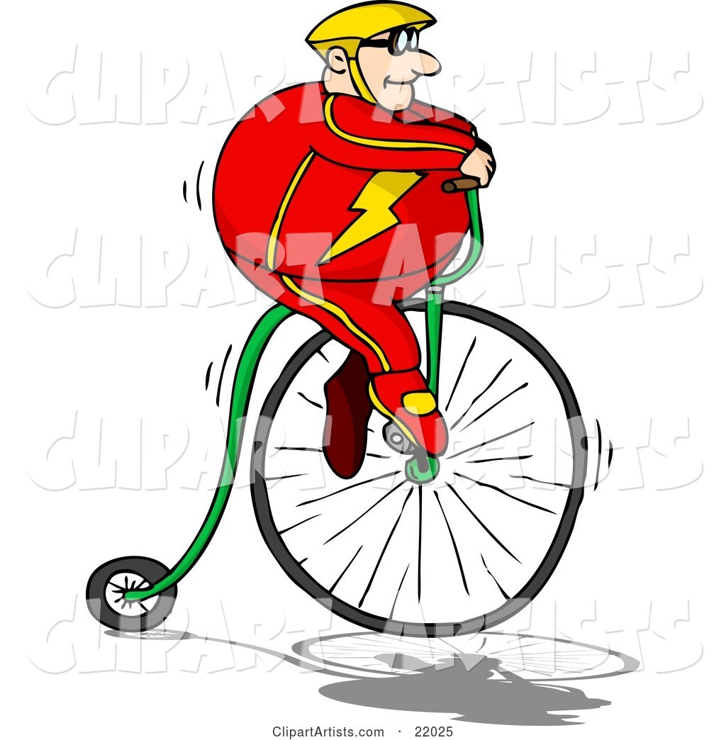 Pudgy Caucasian Man in a Red Suit and Yellow Helmet, Riding High up on a Penny Farthing Bicycle