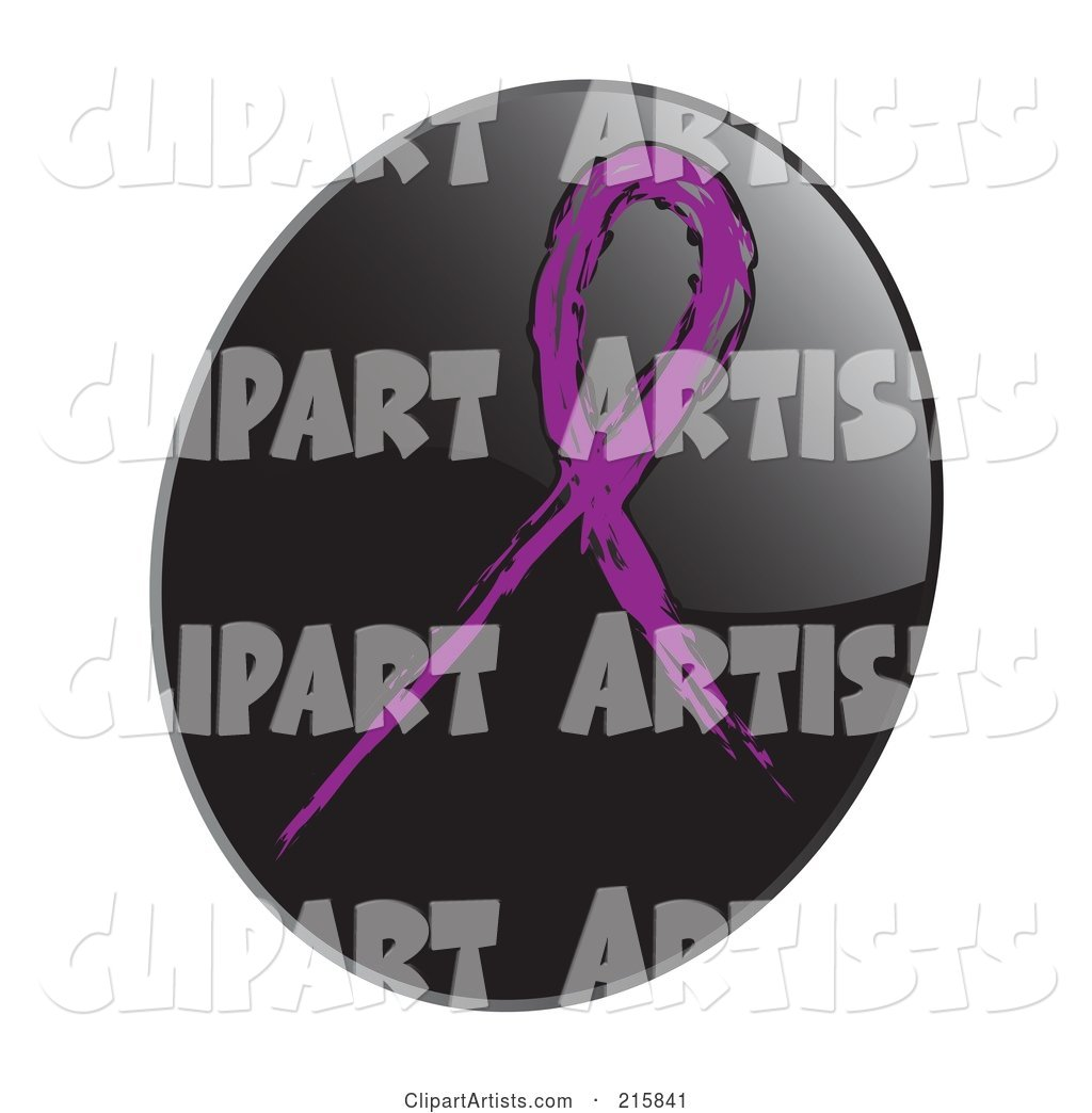 Purple Awareness Ribbon on a Shiny Black App Icon Button