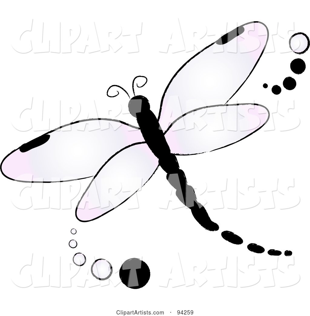 Purple Flying Dragonfly Logo with Dots