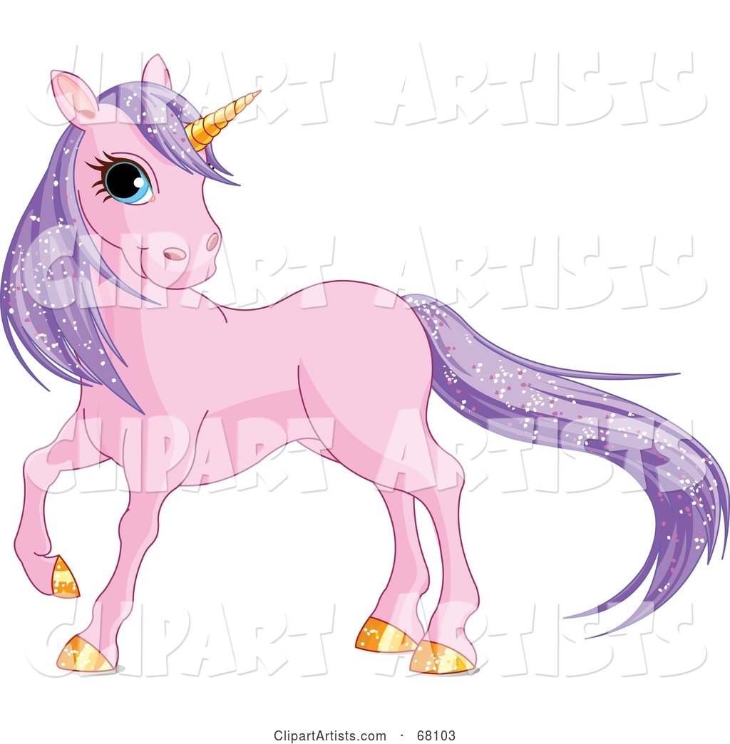 Purple Unicorn with Sparkling Hair and a Golden Horn