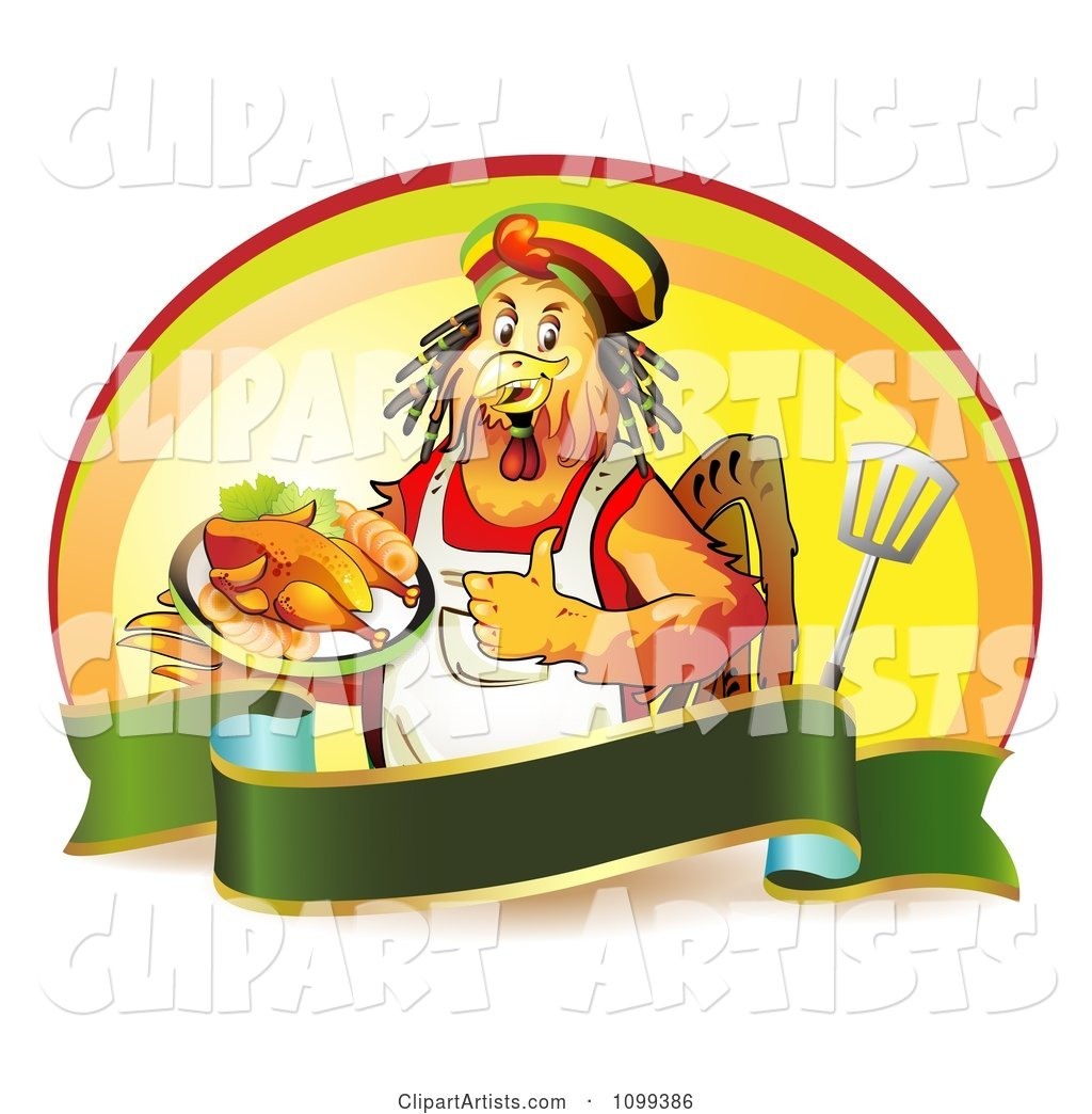 Rastarfarian Chef Rooster Holding a Plate of Chicken and a Thumb up over a Banner with a Spatula and Oval