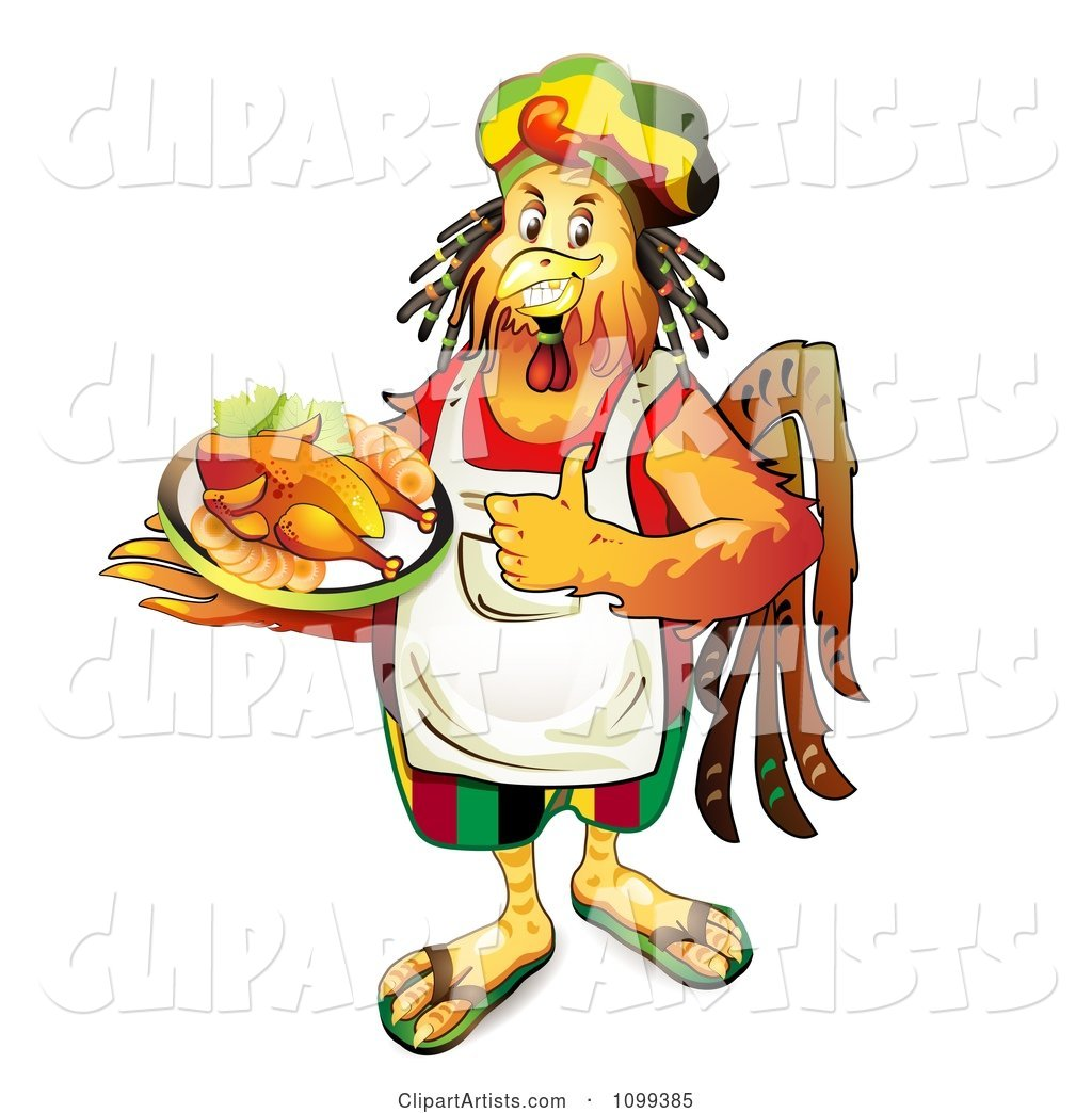 Rastarfarian Chef Rooster Holding a Plate of Chicken