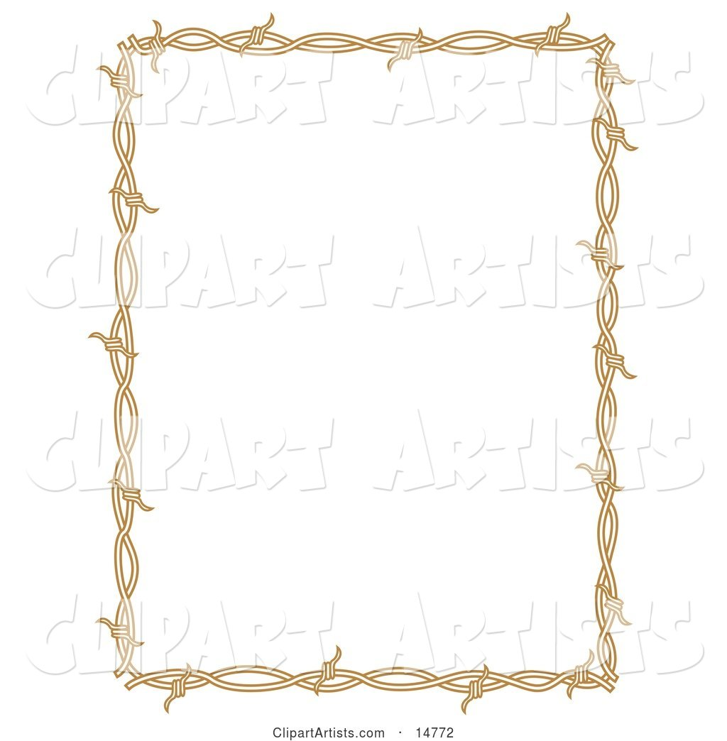 Rectangle Border Frame of Barbed Wire over a White Background