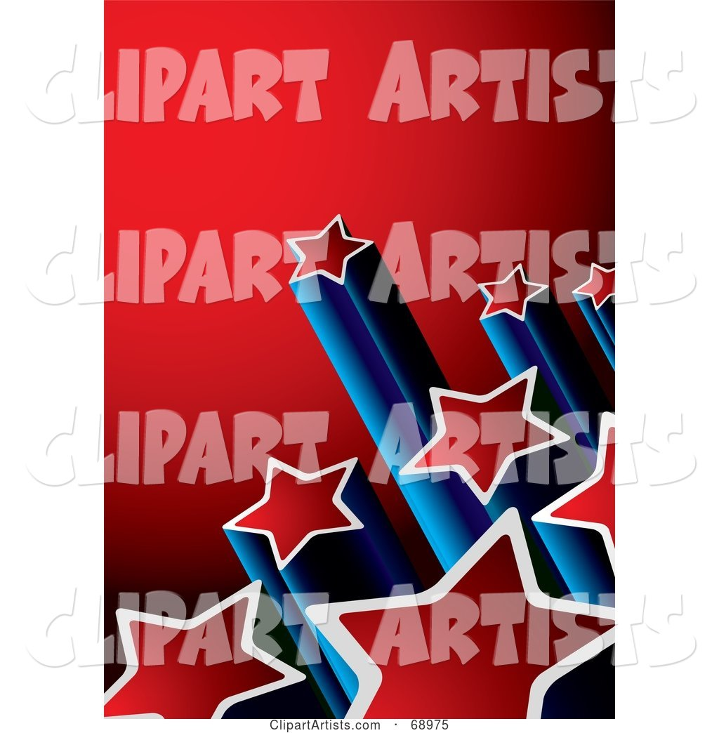Red and Blue Background with Columns of Shooting Stars