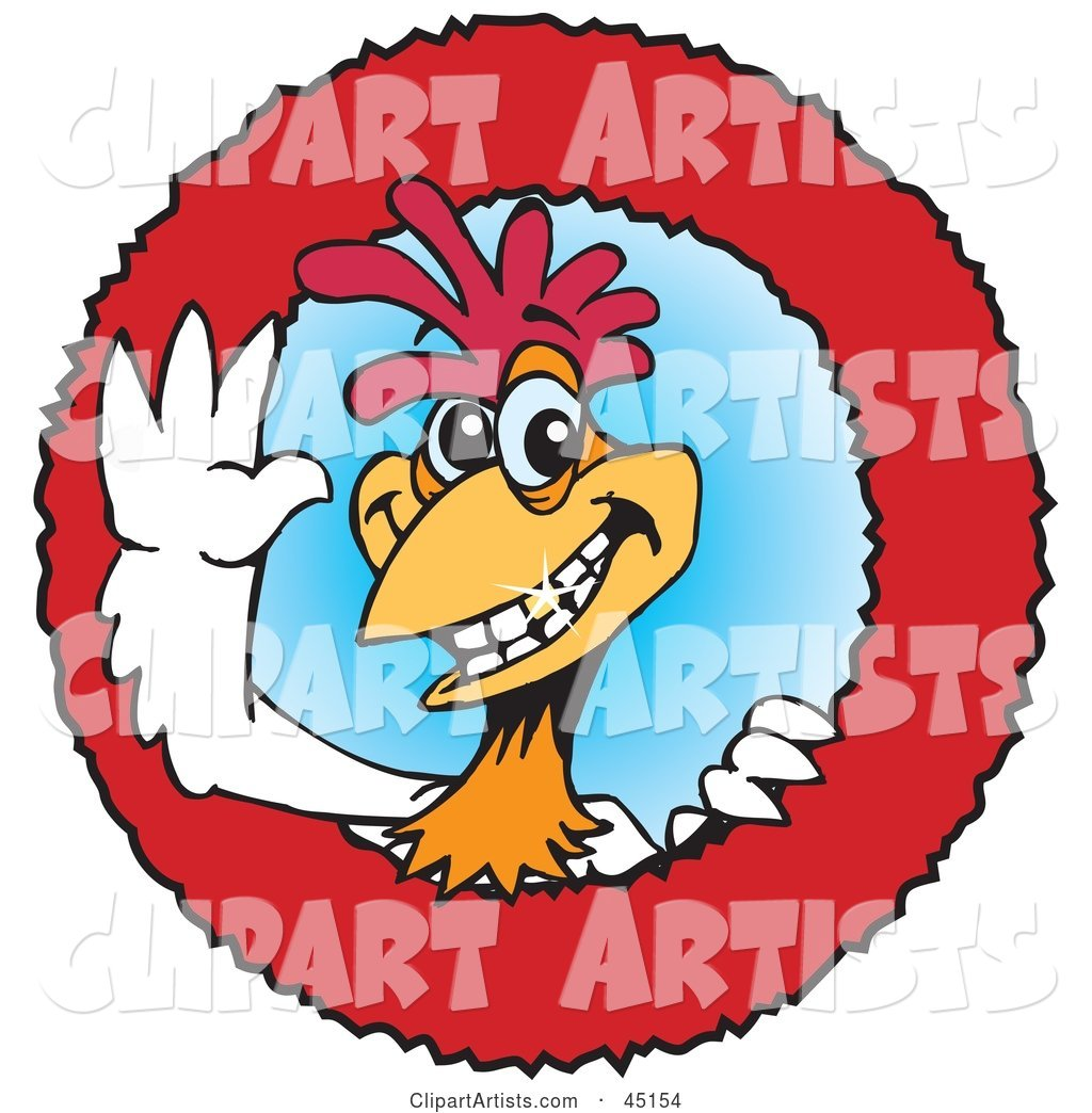 Red and White Rooster Character Logo