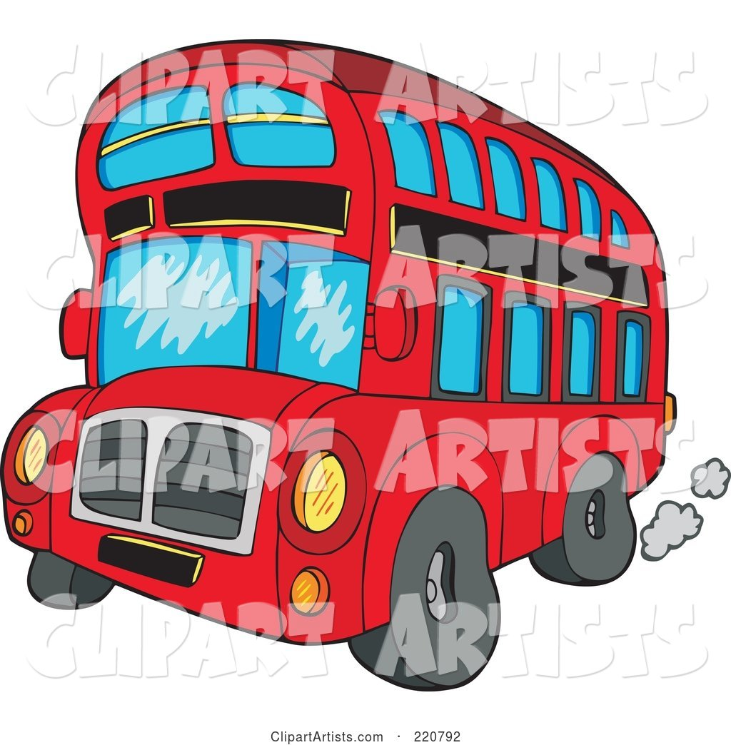 Red Cartoon Double Decker Bus