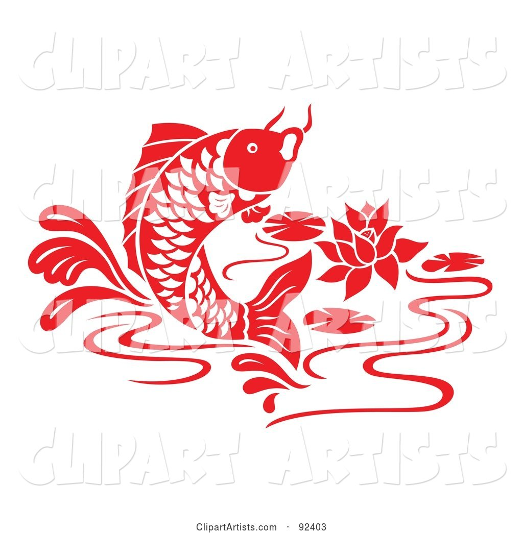 Red Chinese Styled Koi Fish Jumping in a Lily Pond
