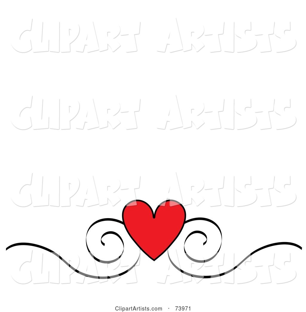 Red Heart and Black Scroll Design Border on a White Background