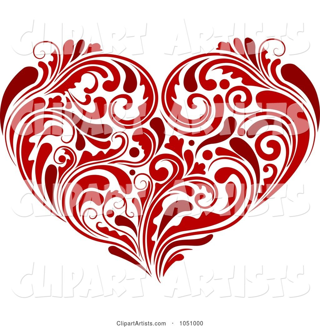 Red Heart Made of Lush Flourishes