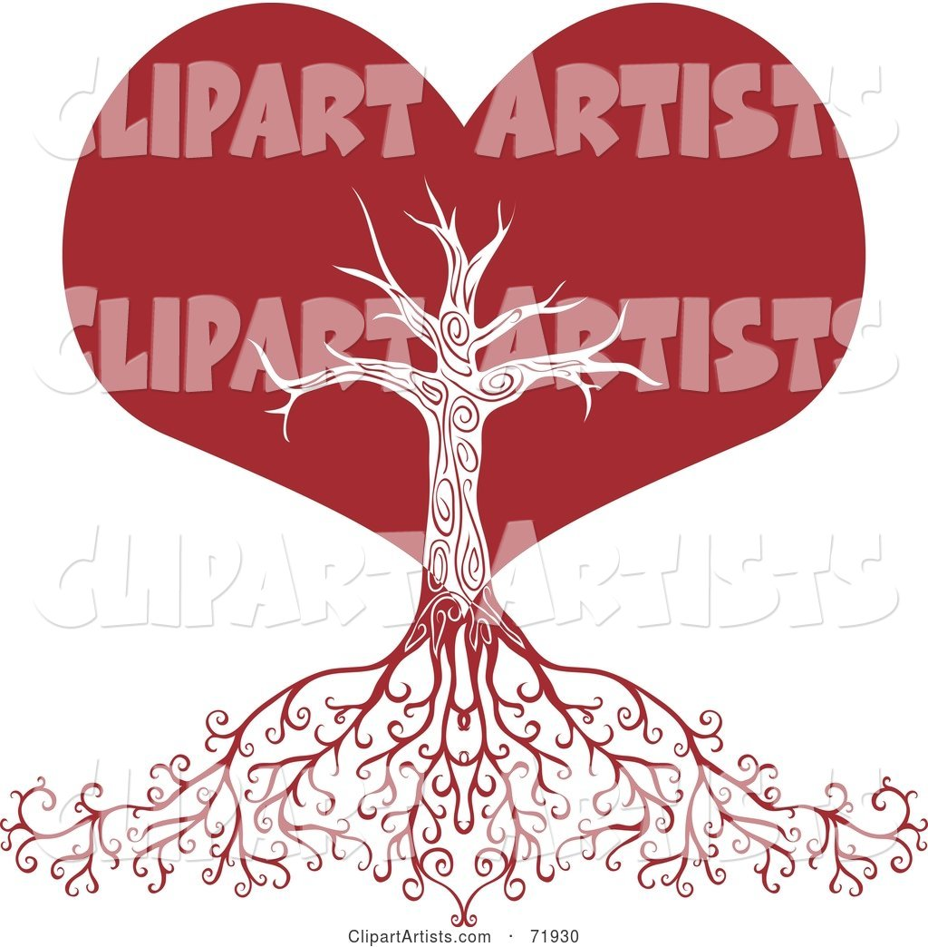 Red Heart Tree with Deep Roots