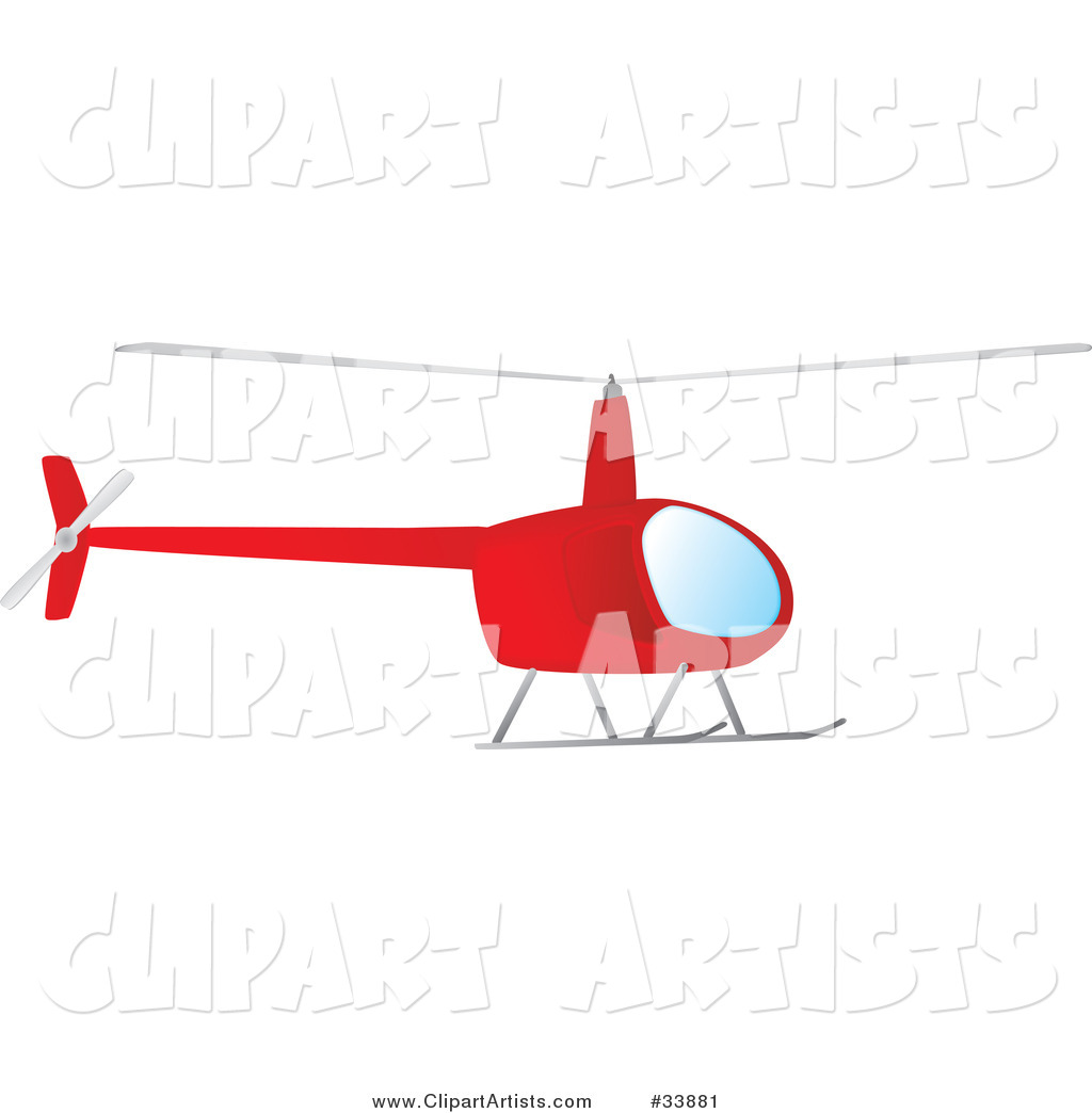 Red Helicopter Hovering in the Sky