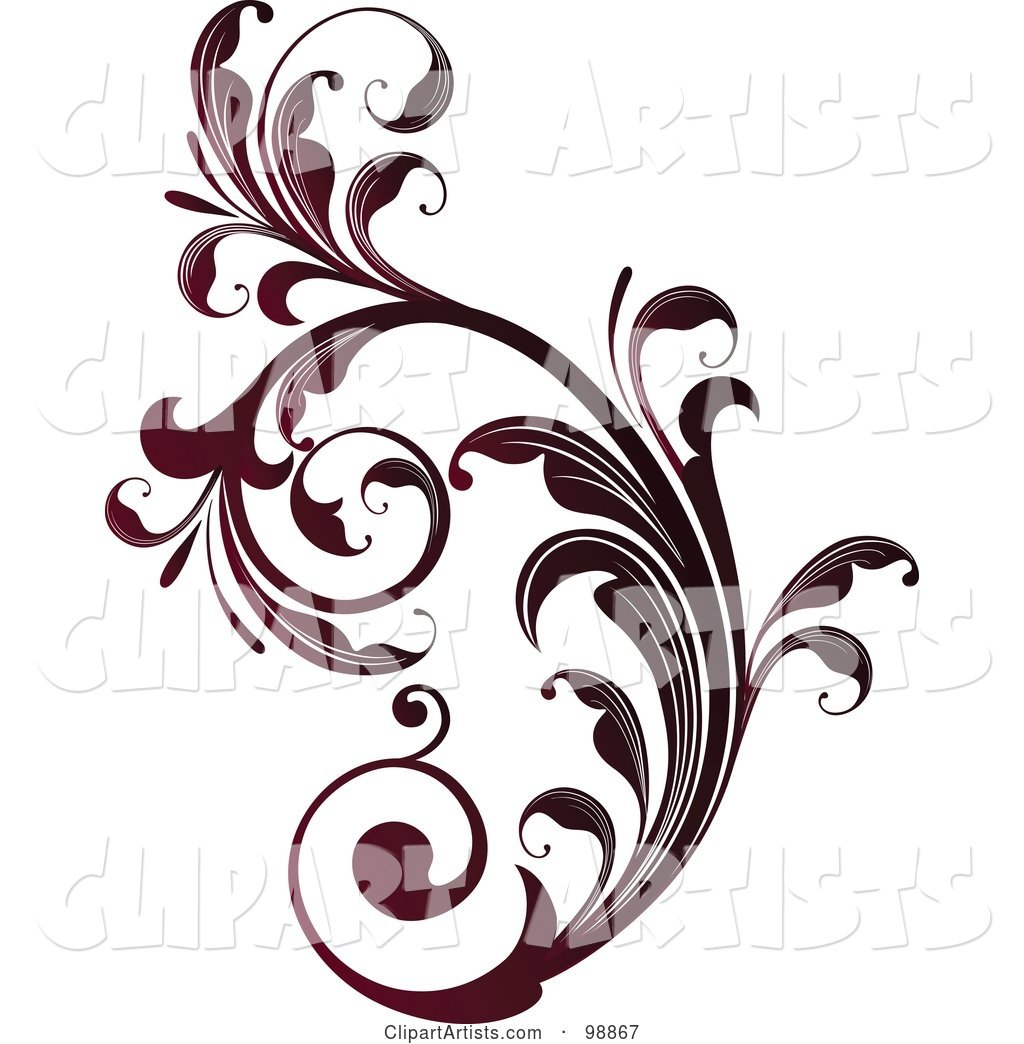 Red Leafy Flourish Design Element - 2