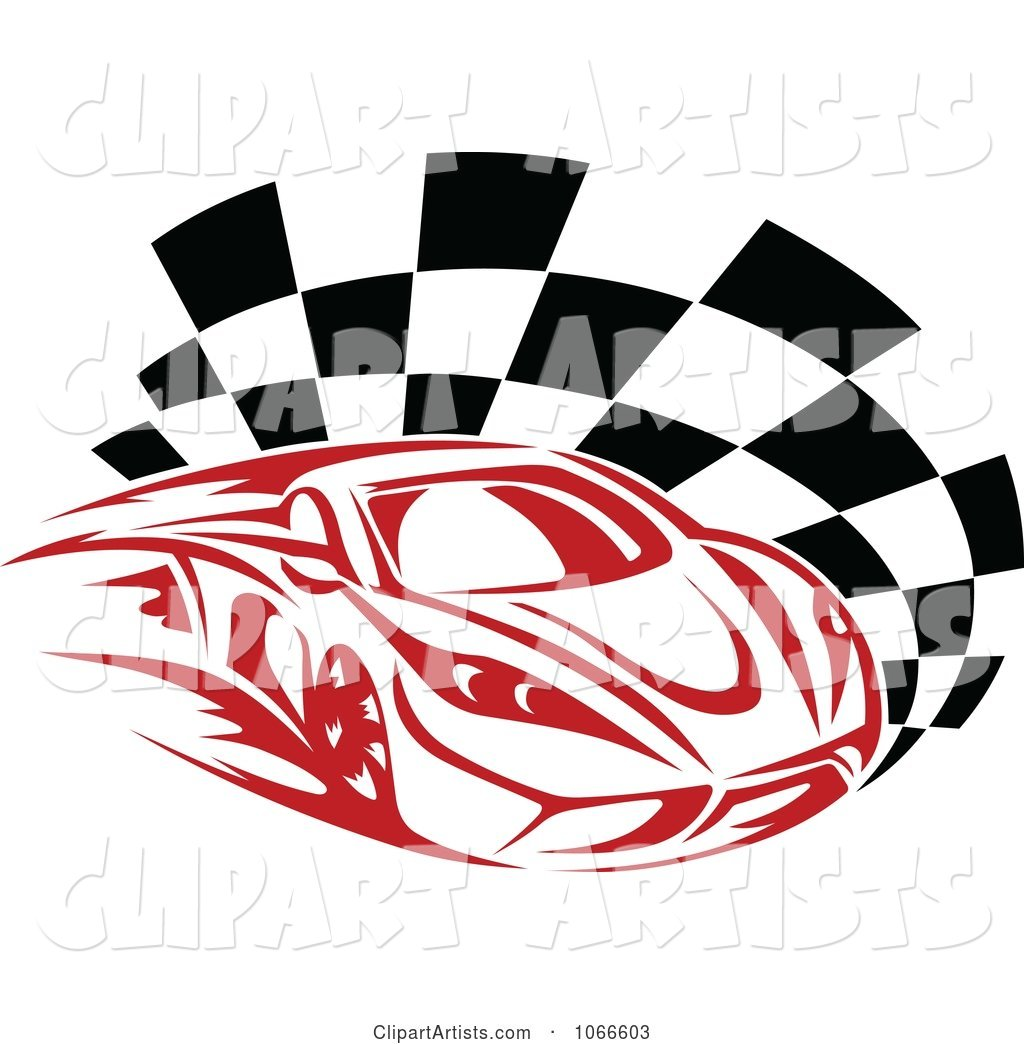 Red Race Car and Checkered Flag
