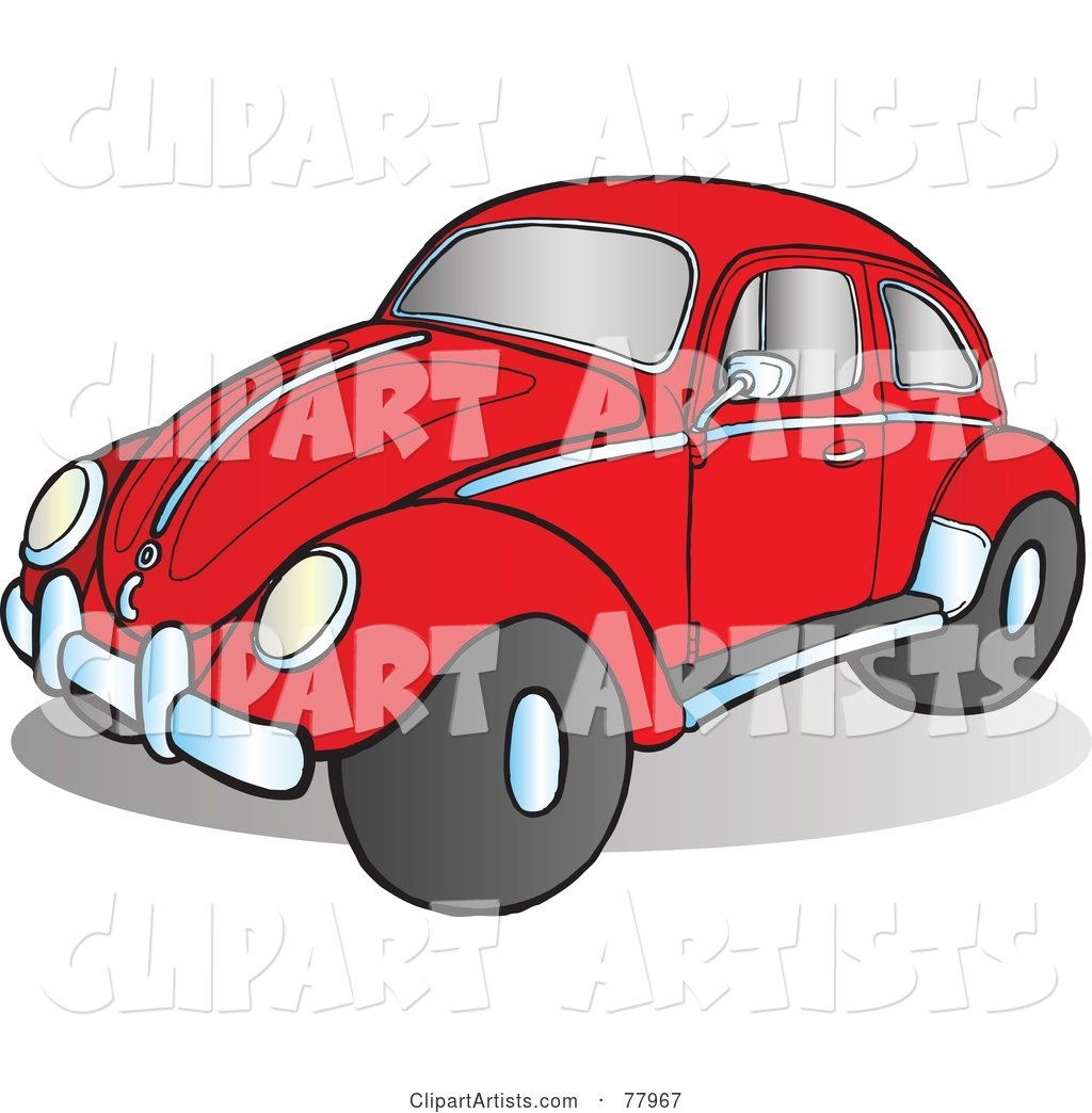 Red Slug Bug Car with Chrome Accents on the Side and Hood