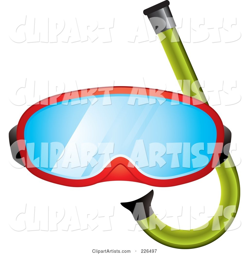 Red Snorkel Mask and Green Snorkel