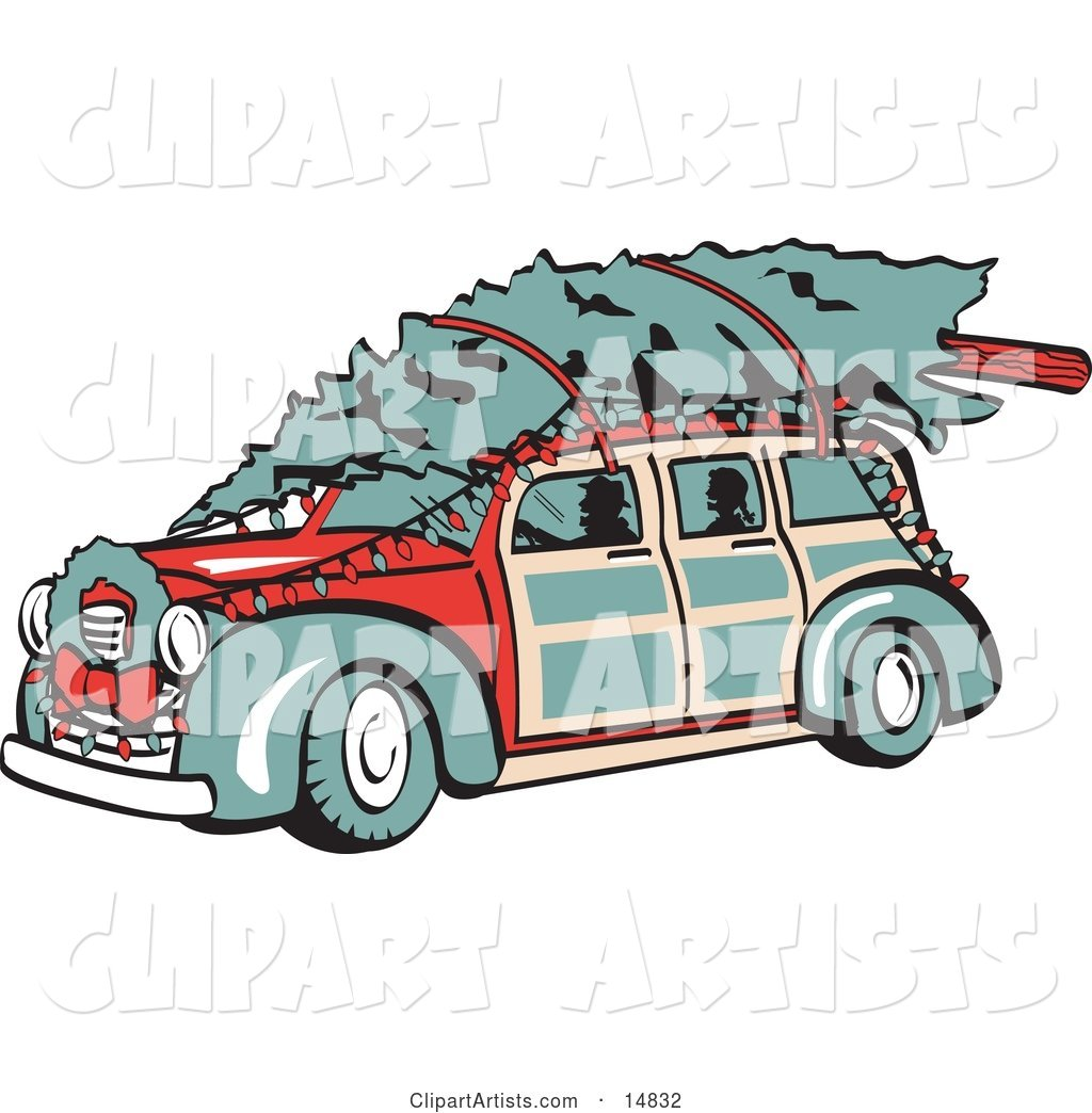 Red Woodie Car Carrying a Christmas Tree on the Roof, Decorated in Christmas Lights and a Wreath