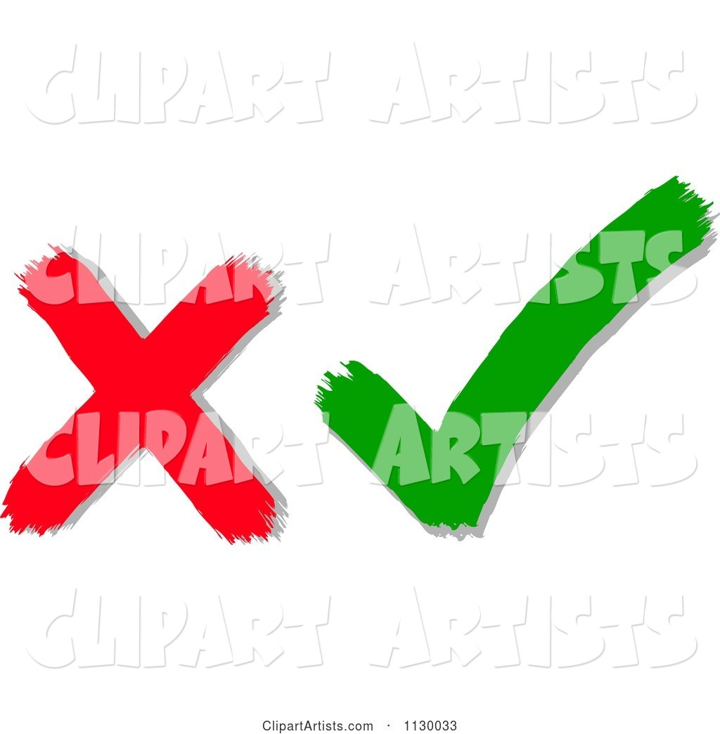 Red X Mark and Green Check Mark
