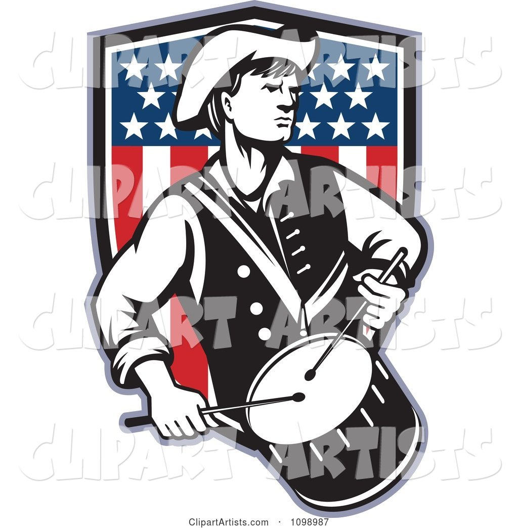 Retro American Revolutionary War Soldier Patriot Minuteman Drummer with a Shield of Stars and Stripes