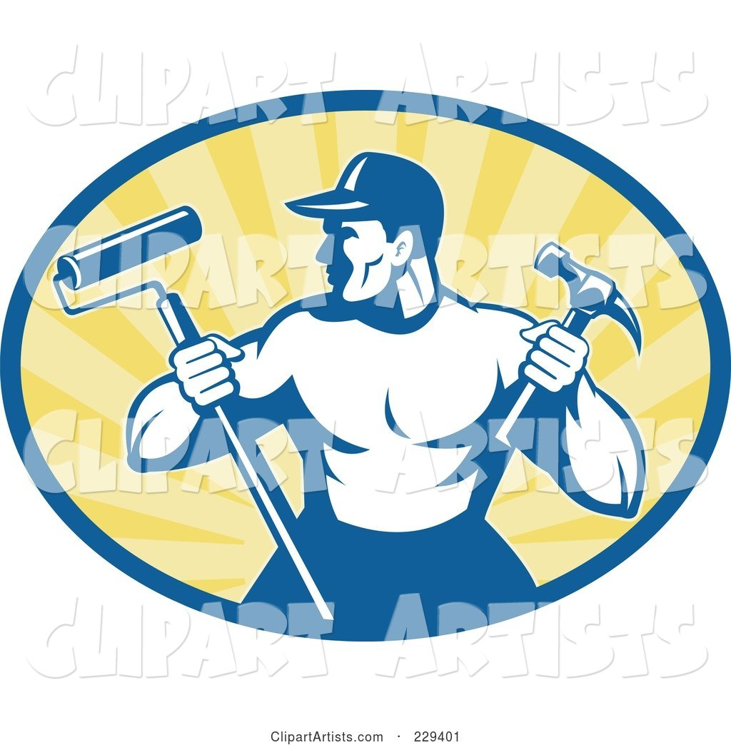Retro Handyman Holding a Paint Roller and Hammer Logo