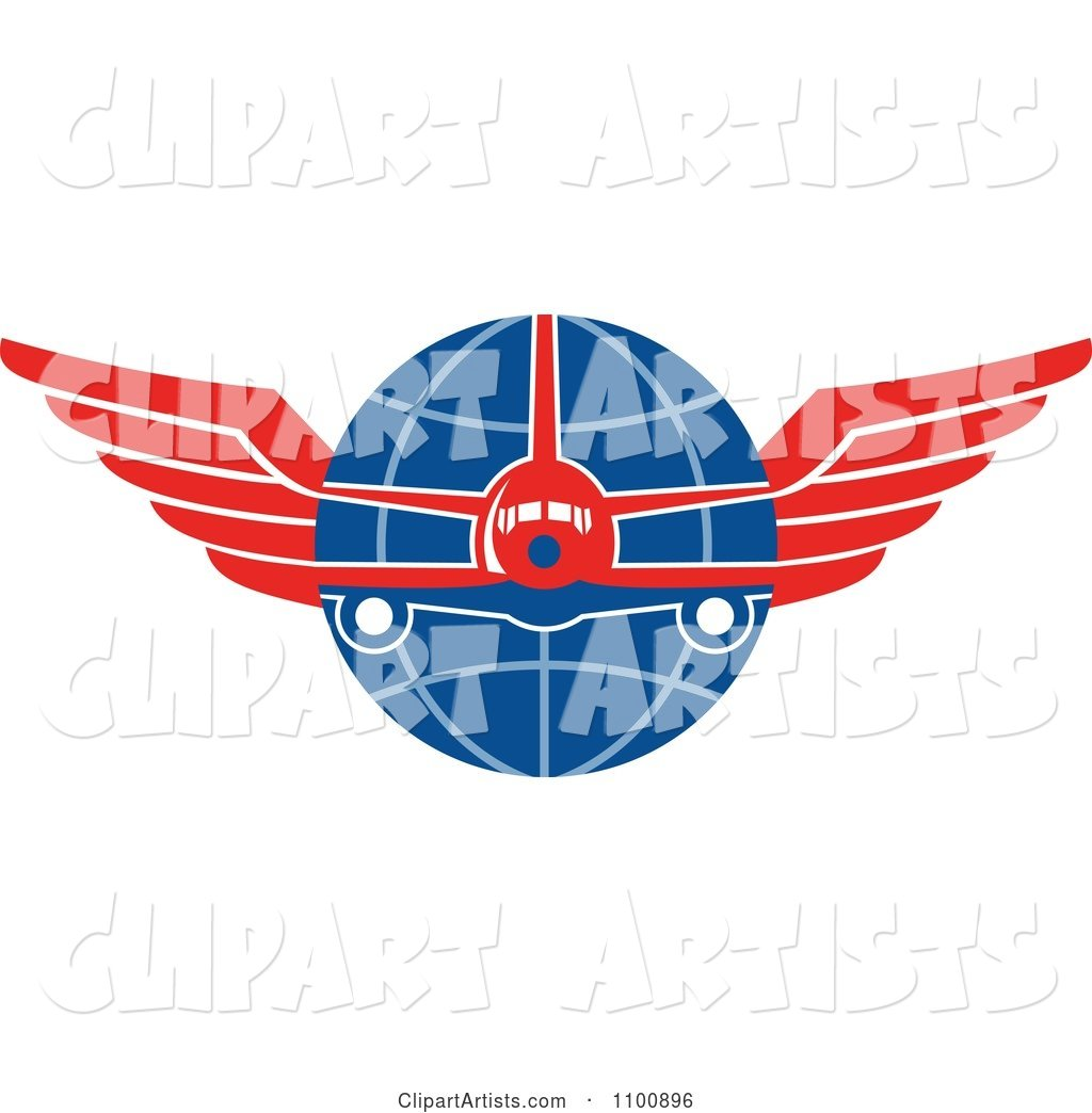 Retro Jumbo Jet Airplane over a Grid Globe with Red Wings