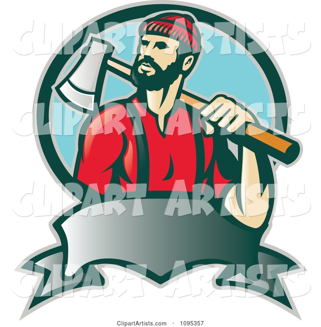 Retro Lumberjack Logger Carrying an Axe over His Shoulder over a Banner and Blue Circle