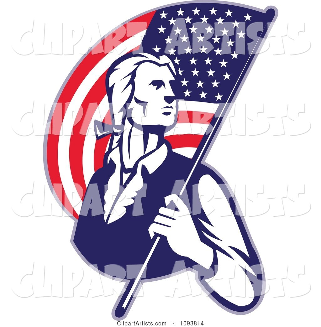 Retro Patriotic Man Carrying an American Flag