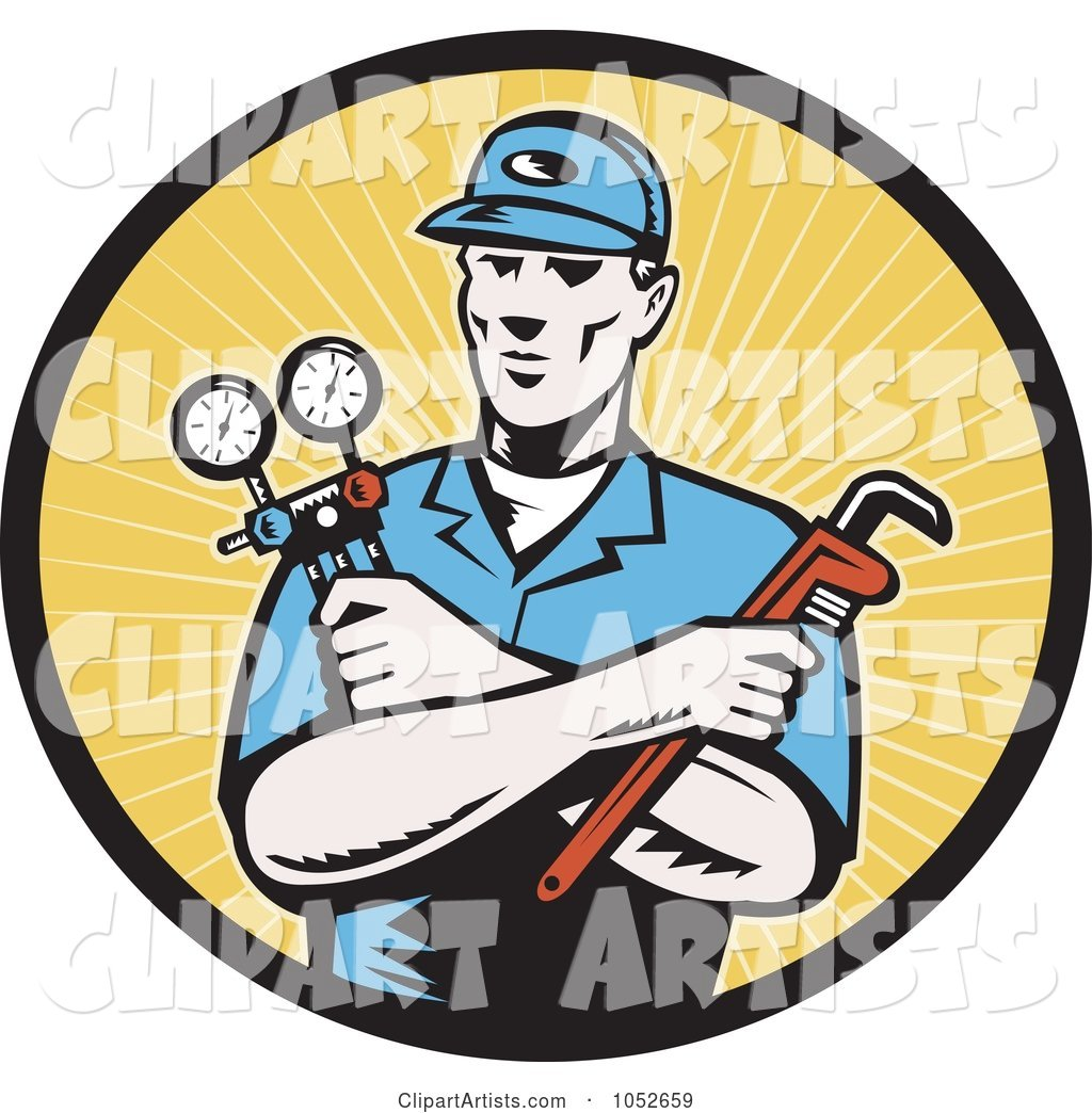 Retro Plumber over Yellow Rays Logo