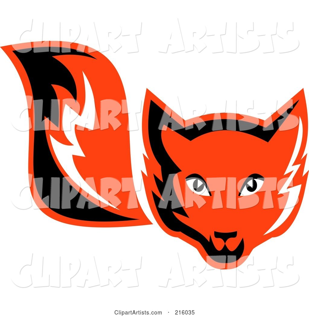 Retro Red Fox Face and Tail