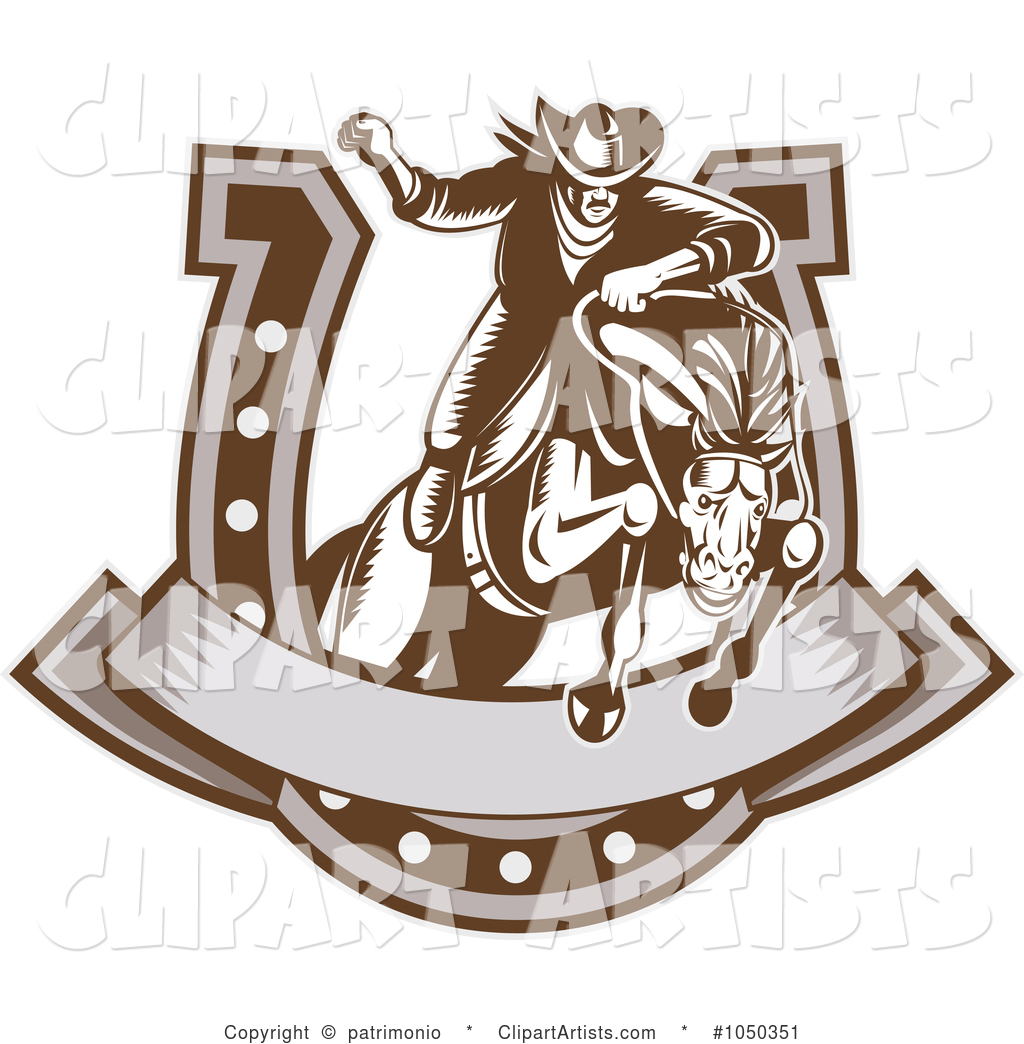 Retro Rodeo Cowboy and Horse Leaping Through a Horseshoe Banner