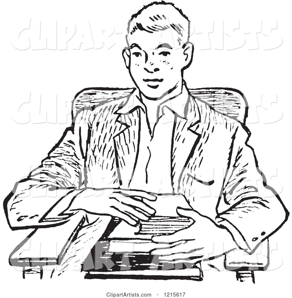 Retro Teenage School Boy with Books at a Desk in Black and White