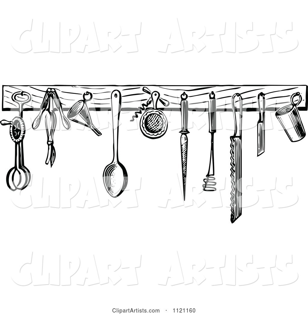 Retro Vintage Black And White Kitchen Tools Clipart By Prawny Vintage